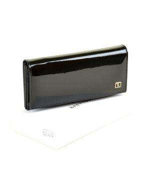 Женский лаковый кошелек Gold W501 black, 76447