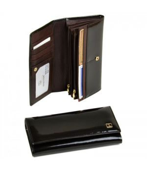 Женский лаковый кошелек Gold W501 dark-coffee, 76449