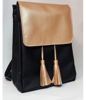 Женский рюкзак Loft LAe черный с золотим