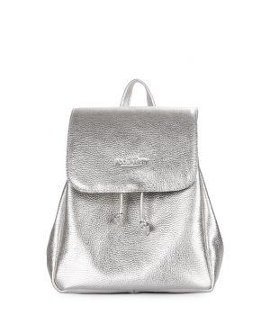 Серебряный кожаный рюкзак на завязках Paris, 61963
