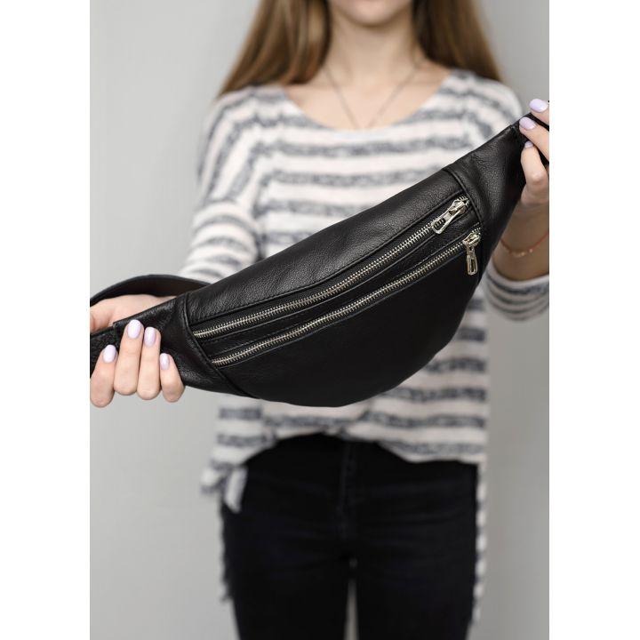 Сумка на пояс Hoso MTS черная натуральная кожа с кожаным ремнем