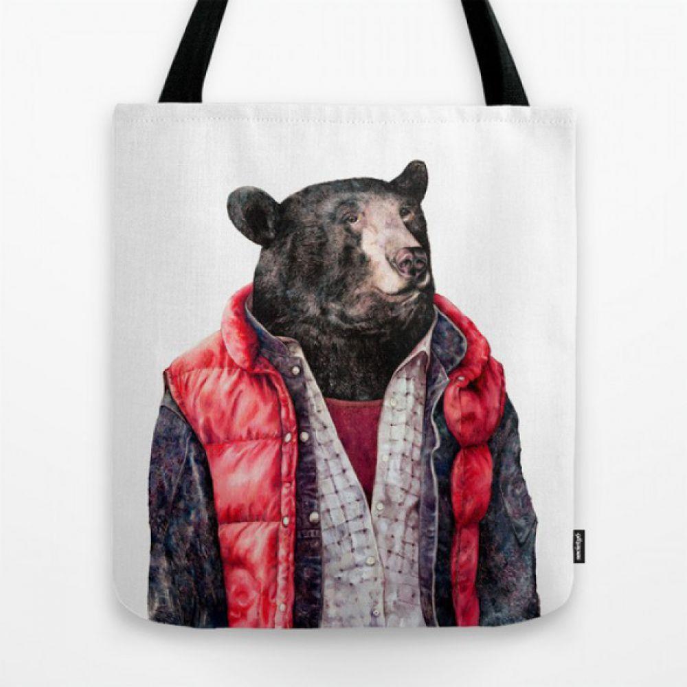 28e67bbd9273 Тканевая сумка с рисунком Black Bear - Купить тканевые сумки с ...