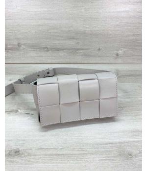 Женская сумка клатч на пояс Энди плетеная серая