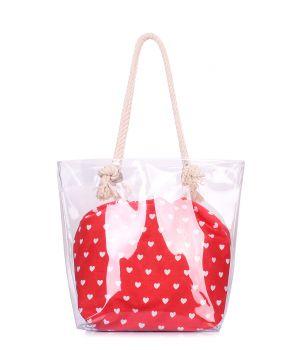 Прозрачная летняя сумка с сердцами, 64223