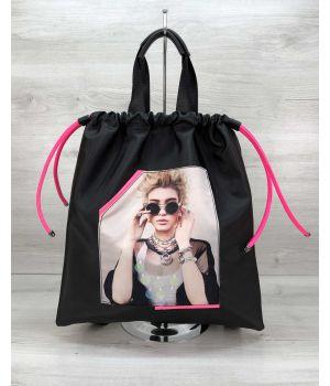 Рюкзак сумка Berry черный с неоновым малиновым