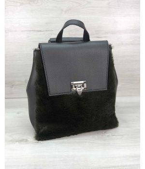 Женский рюкзак Фаби с оливковым мехом