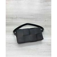 Женская сумка клатч на пояс Энди плетеная черная
