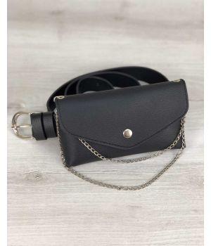 Женская сумка на пояс Айлин черного цвета