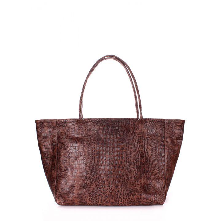 Кожаная сумка POOLPARTY Desire brown