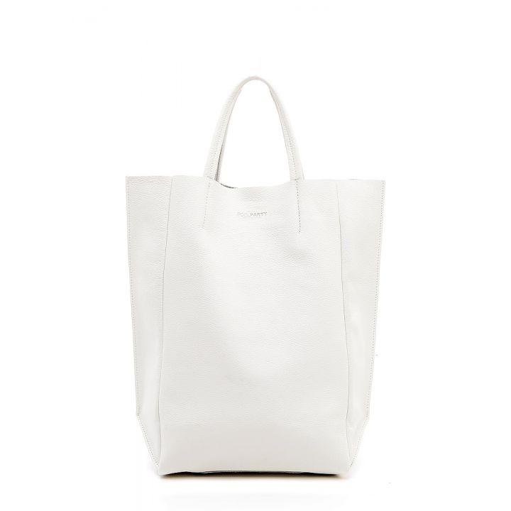 Кожаная сумка POOLPARTY BigSoho white