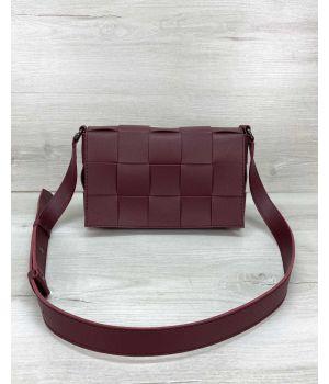 Женская сумка Bottega плетеная бордовая, 73768