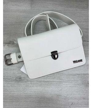 Женская сумка на пояс клатч Арья белого цвета
