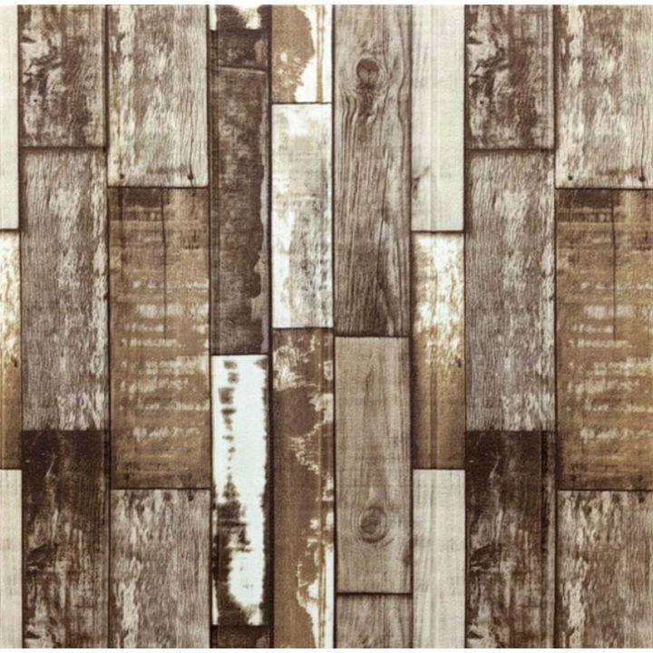 Самоклеющаяся декоративная 3D панель коричневое дерево 700x770x5мм