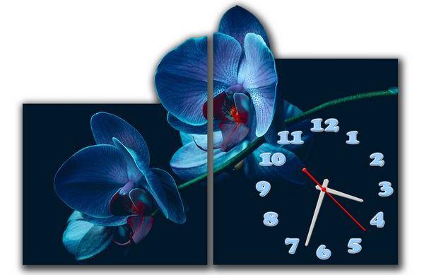 настенные модульные часы с цветами фото