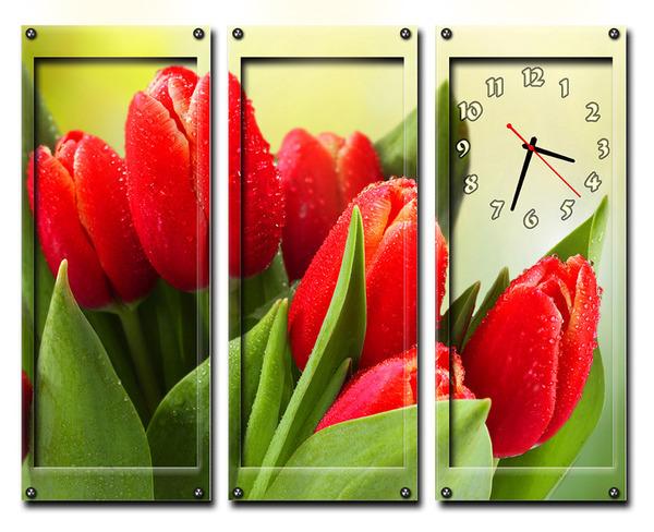 Часы Алые Тюльпаны
